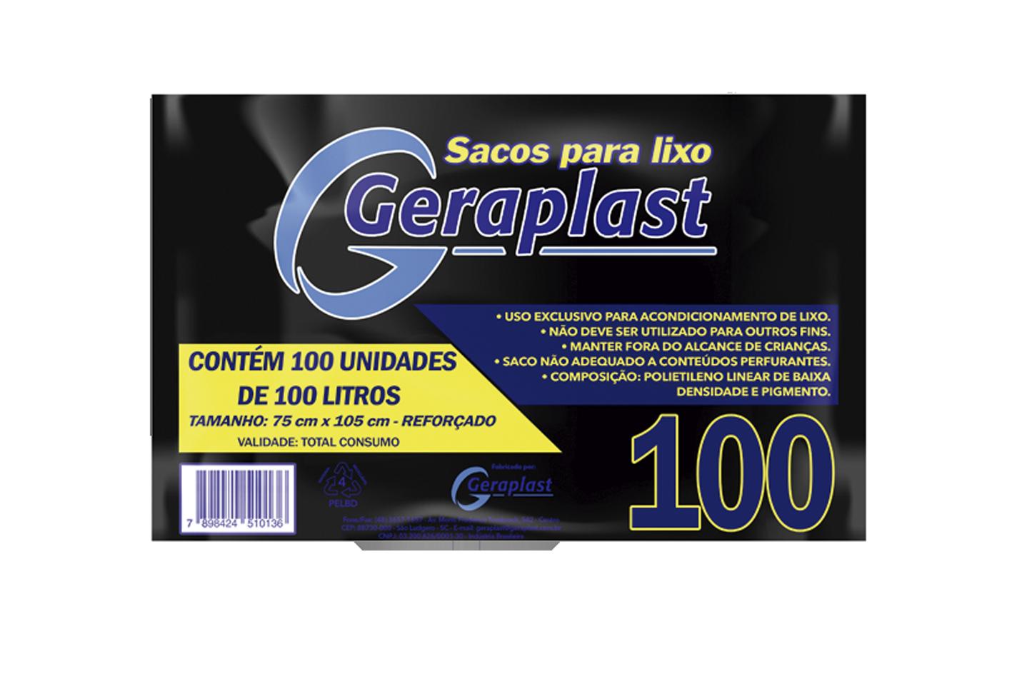 <Saco para Lixo 100 Litros - Geraplast - Industrial de Plásticos